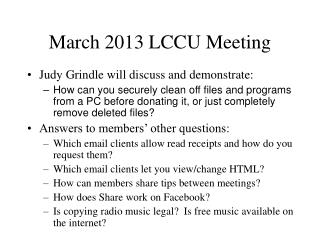 March 2013 LCCU Meeting