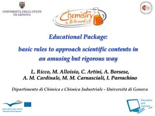 Educational Package:  basic rules to approach scientific contents in an amusing but rigorous way