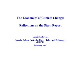 The Economics of Climate Change: Reflections on the Stern Report