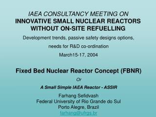 IAEA CONSULTANCY MEETING ON