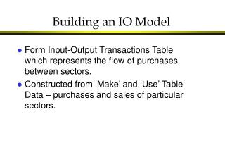 Building an IO Model