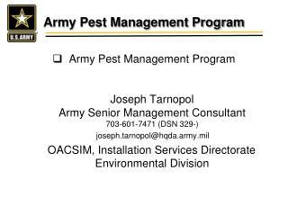 Army Pest Management Program