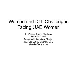 Women and ICT: Challenges Facing UAE Women