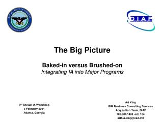 The Big Picture Baked-in versus Brushed-on Integrating IA into Major Programs