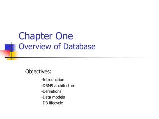 Chapter One Overview of Database