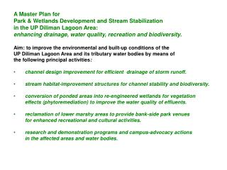 A Master Plan for Park & Wetlands Development and Stream Stabilization