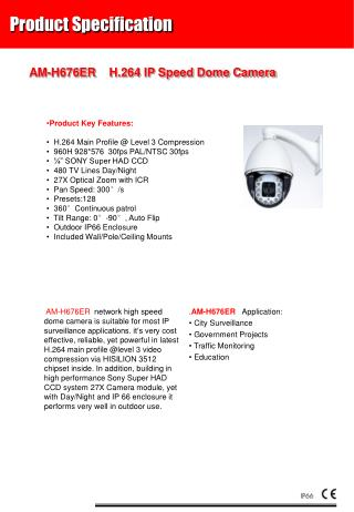 AM-H676 ER  H.264 IP Speed Dome Camera