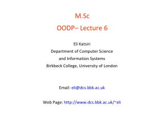M.Sc   OODP– Lecture 6