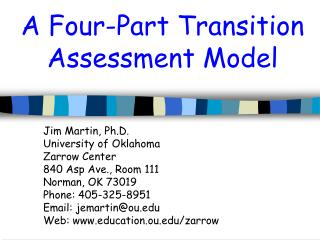 A Four-Part Transition Assessment Model