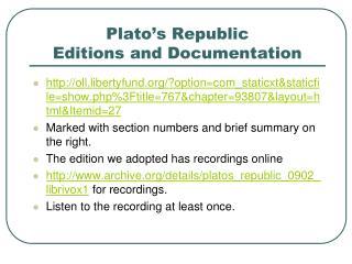 Plato's Republic Editions and Documentation