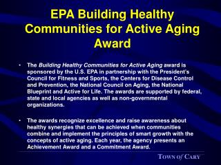 EPA Building Healthy Communities for Active Aging Award