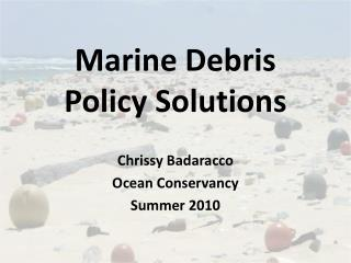 Marine Debris Policy Solutions