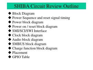 SHIBA Circuit Review Outline