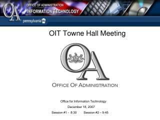 OIT Towne Hall Meeting