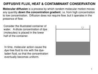 DIFFUSIVE FLUX, HEAT & CONTAMINANT CONSERVATION