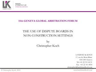 15th GENEVA GLOBAL ARBITRATION FORUM