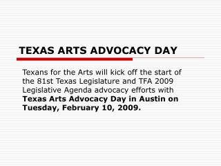 TEXAS ARTS ADVOCACY DAY