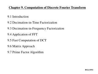Chapter 9. Computation of Discrete Fourier Transform