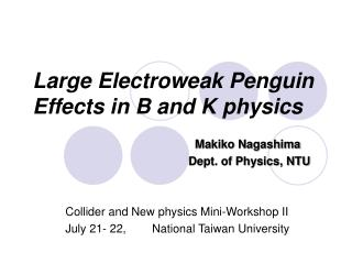 Large Electroweak Penguin  Effects in B and K physics