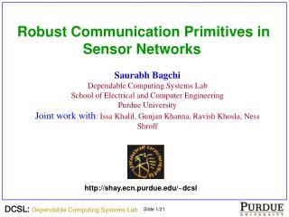 Robust Communication Primitives in Sensor Networks