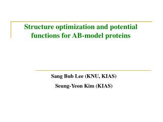 Structure optimization and potential functions for AB-model proteins