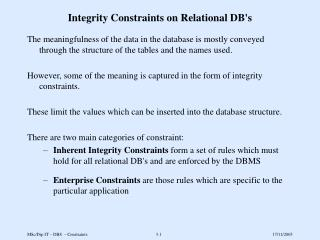 Integrity Constraints on Relational DB's