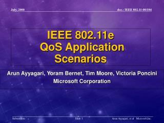 IEEE 802.11e  QoS Application Scenarios