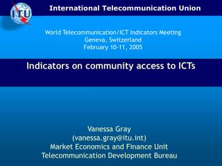 Indicators on community access to ICTs