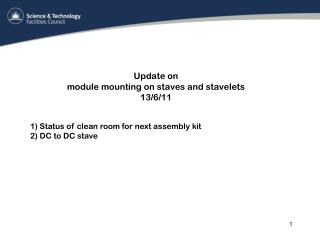 Update on  module mounting on staves and stavelets  13/6/11