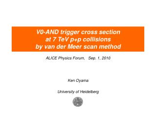 V0-AND trigger cross section at 7 TeV p+p collisions by van der Meer scan method