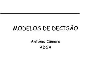 MODELOS DE DECISÃO