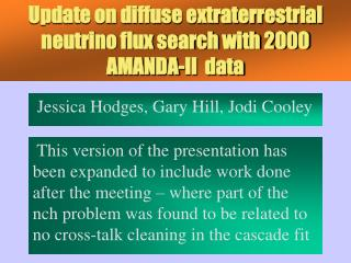 Update on diffuse extraterrestrial neutrino flux search with 2000 AMANDA-II  data