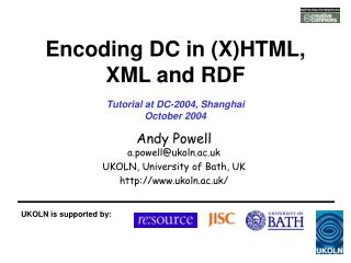 Encoding DC in (X)HTML, XML and RDF