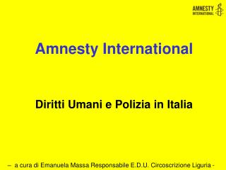 Amnesty International Diritti Umani e Polizia in Italia