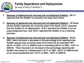 Family Separations and Deployments Survey of Army Families V