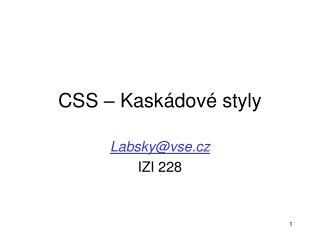 CSS – Kaskádové styly