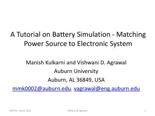 A Tutorial on Battery Simulation - Matching Power Source to Electronic System