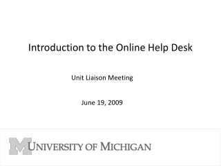 Introduction to the Online Help Desk