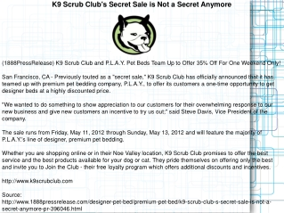 K9 Scrub Club's Secret Sale is Not a Secret Anymore