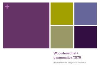 Woordenschat +  grammatica TB76