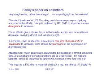 Farley�s paper on absorbers