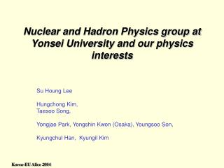 Nuclear and Hadron Physics group at Yonsei University and our physics interests