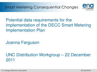 Smart Metering Consequential Changes