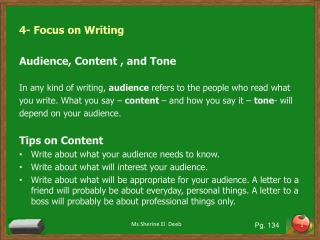 4- Focus on Writing