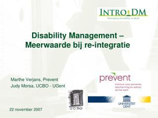 Disability Management – Meerwaarde bij re-integratie