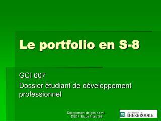 Le portfolio en S-8