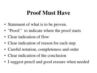 Proof Must Have