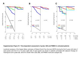 Supplementary Figure S1. Time-dependent assessment of grade, GGI and PAM50 in untreated patients