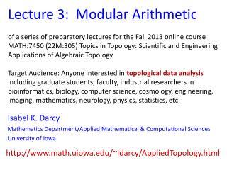 Lecture 3:  Modular Arithmetic