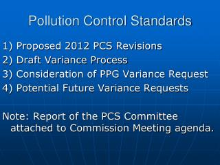 Pollution Control Standards